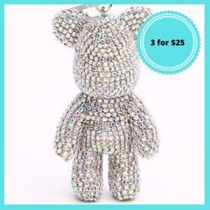 Diamond rhinestone teddy bear keychain